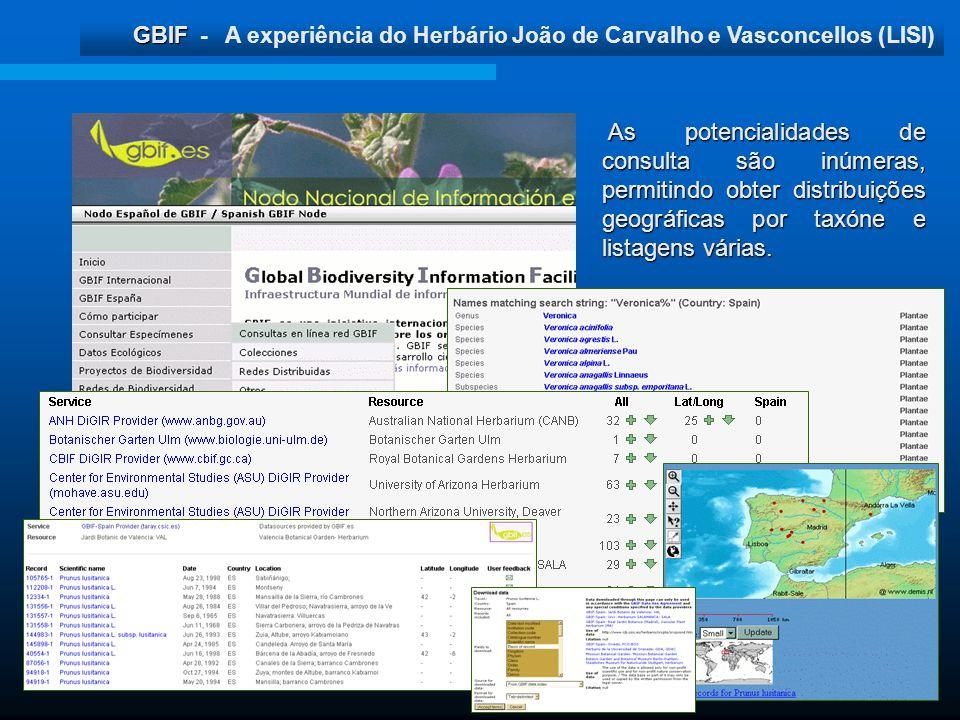 GBIF GBIF - A experiência do Herbário João de Carvalho e Vasconcellos (LISI) As potencialidades de consulta são inúmeras, permitindo obter distribuiçõ