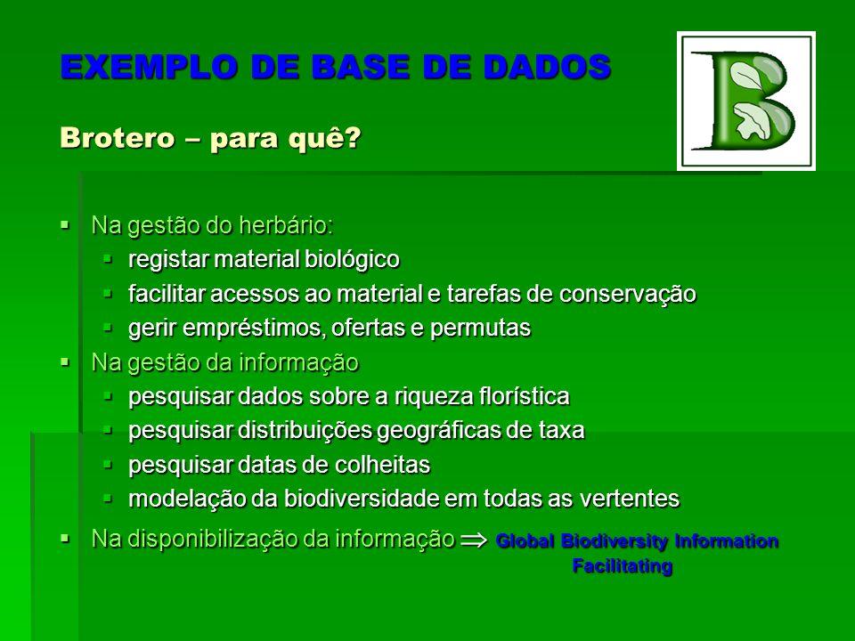 EXEMPLO DE BASE DE DADOS Brotero – para quê.