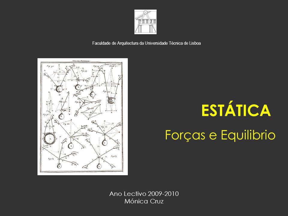 F1F1 F2F2 F3F3 45º 30º F 1 =4.5kN F 2 =5.0kN F 3 =3.0kN Calcule a resultante do sistema de forças representado na figura: a) No plano das acções – Paralelogramo de Forças b) No plano das forças – Polígono de Forças Exercício de Aplicação ESTÁTICA – Forças e Equilíbrio