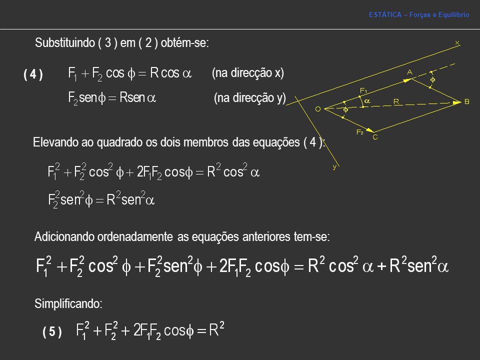 Elevando ao quadrado os dois membros das equações ( 4 ): Adicionando ordenadamente as equações anteriores tem-se: Simplificando: ( 5 ) Substituindo (