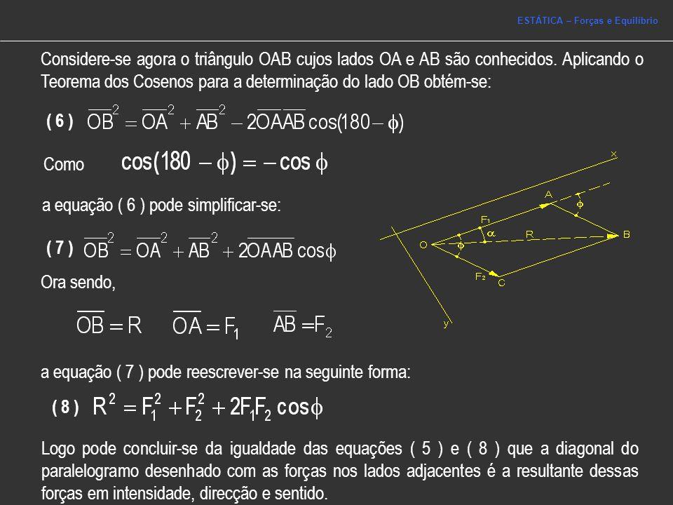 3.2 Triângulo de Forças Princípio do Triângulo de Forças Desenhando duas forças complanares de forma sequencial, isto é, fazendo coincidir o final da primeira força com o início da segunda, o vector que une as extremidades livres das forças representa a resultante.