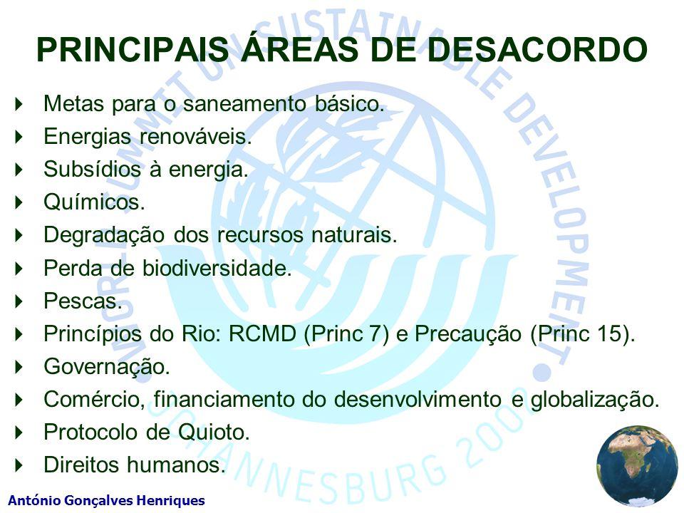António Gonçalves Henriques PRINCIPAIS ÁREAS DE DESACORDO Metas para o saneamento básico. Energias renováveis. Subsídios à energia. Químicos. Degradaç