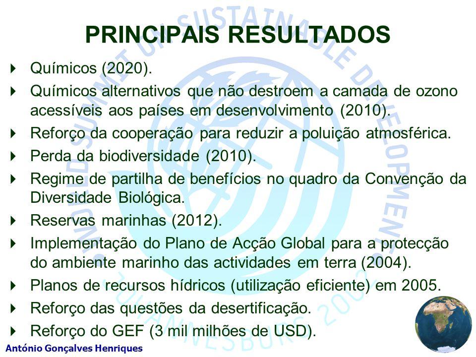António Gonçalves Henriques PRINCIPAIS RESULTADOS Químicos (2020). Químicos alternativos que não destroem a camada de ozono acessíveis aos países em d