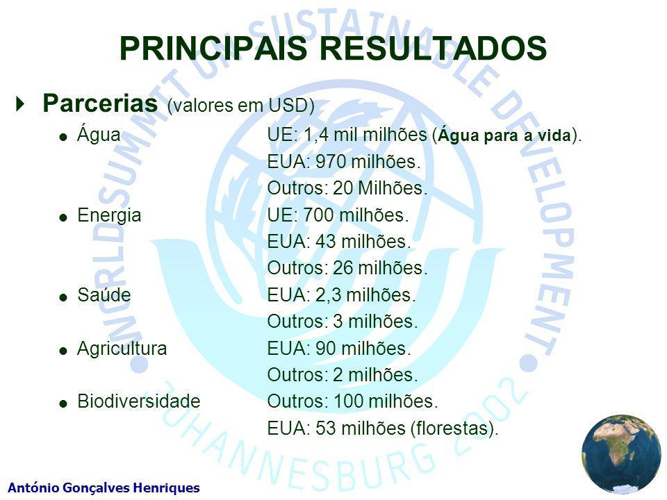 António Gonçalves Henriques PRINCIPAIS RESULTADOS Parcerias (valores em USD) Água UE: 1,4 mil milhões ( Água para a vida ). EUA: 970 milhões. Outros: