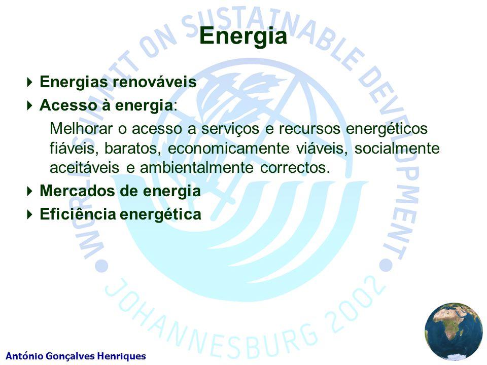 António Gonçalves Henriques Energia Energias renováveis Acesso à energia: Melhorar o acesso a serviços e recursos energéticos fiáveis, baratos, economicamente viáveis, socialmente aceitáveis e ambientalmente correctos.