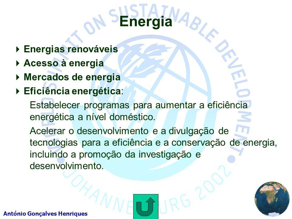 António Gonçalves Henriques Energia Energias renováveis Acesso à energia Mercados de energia Eficiência energética: Estabelecer programas para aumentar a eficiência energética a nível doméstico.