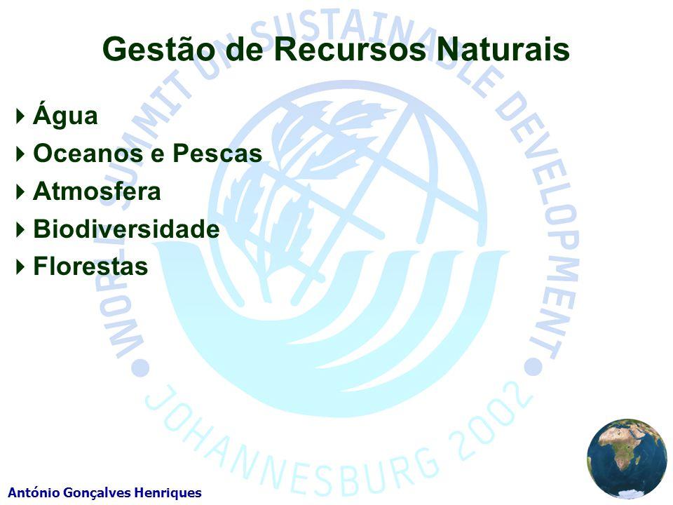 António Gonçalves Henriques Gestão de Recursos Naturais Água Oceanos e Pescas Atmosfera Biodiversidade Florestas