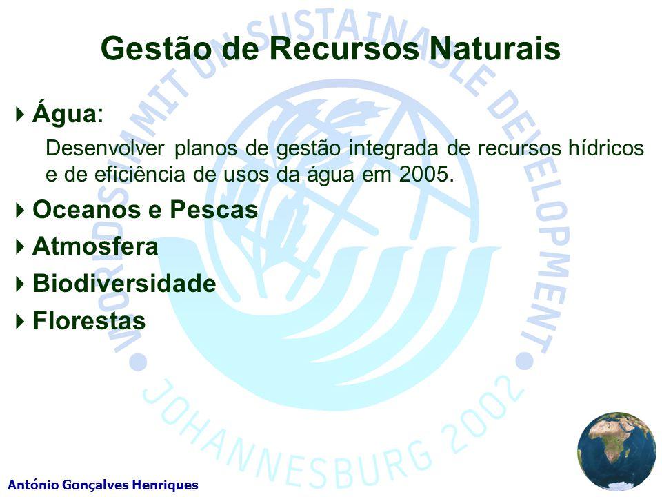 António Gonçalves Henriques Gestão de Recursos Naturais Água: Desenvolver planos de gestão integrada de recursos hídricos e de eficiência de usos da água em 2005.
