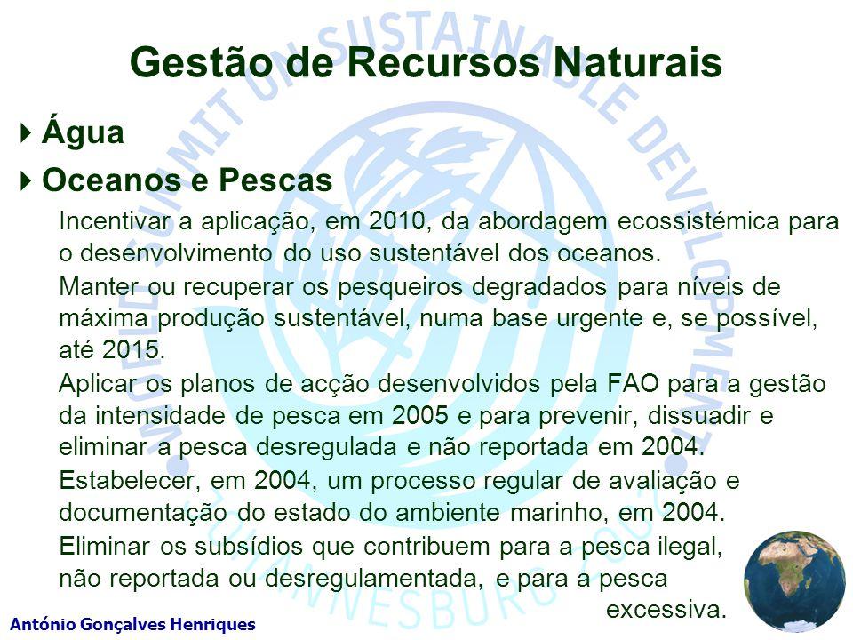 António Gonçalves Henriques Gestão de Recursos Naturais Água Oceanos e Pescas Incentivar a aplicação, em 2010, da abordagem ecossistémica para o desenvolvimento do uso sustentável dos oceanos.