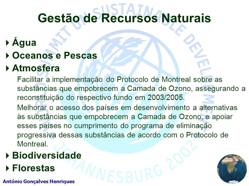 António Gonçalves Henriques Gestão de Recursos Naturais Água Oceanos e Pescas Atmosfera Facilitar a implementação do Protocolo de Montreal sobre as substâncias que empobrecem a Camada de Ozono, assegurando a reconstituição do respectivo fundo em 2003/2005.