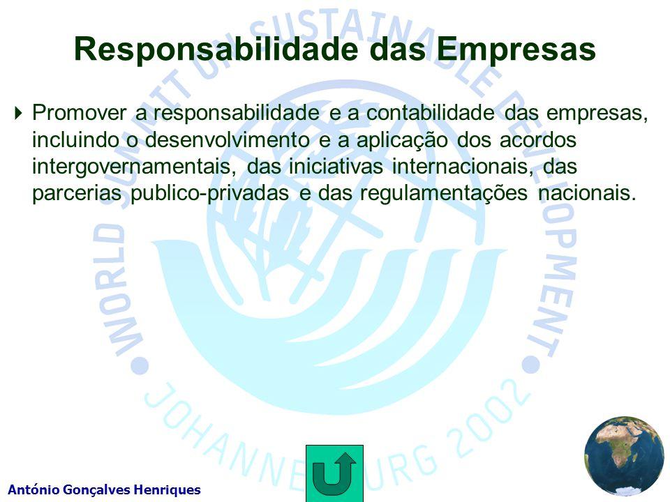 António Gonçalves Henriques Responsabilidade das Empresas Promover a responsabilidade e a contabilidade das empresas, incluindo o desenvolvimento e a aplicação dos acordos intergovernamentais, das iniciativas internacionais, das parcerias publico-privadas e das regulamentações nacionais.