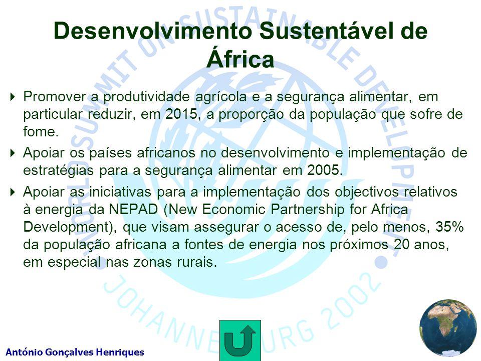 António Gonçalves Henriques Desenvolvimento Sustentável de África Promover a produtividade agrícola e a segurança alimentar, em particular reduzir, em 2015, a proporção da população que sofre de fome.