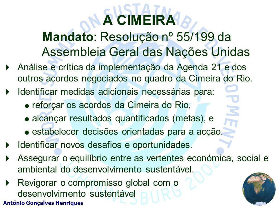 António Gonçalves Henriques A CIMEIRA Mandato: Resolução nº 55/199 da Assembleia Geral das Nações Unidas Análise e crítica da implementação da Agenda 21 e dos outros acordos negociados no quadro da Cimeira do Rio.