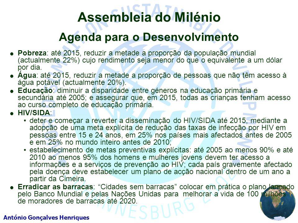 António Gonçalves Henriques Assembleia do Milénio Agenda para o Desenvolvimento Pobreza: até 2015, reduzir a metade a proporção da população mundial (actualmente 22%) cujo rendimento seja menor do que o equivalente a um dólar por dia.