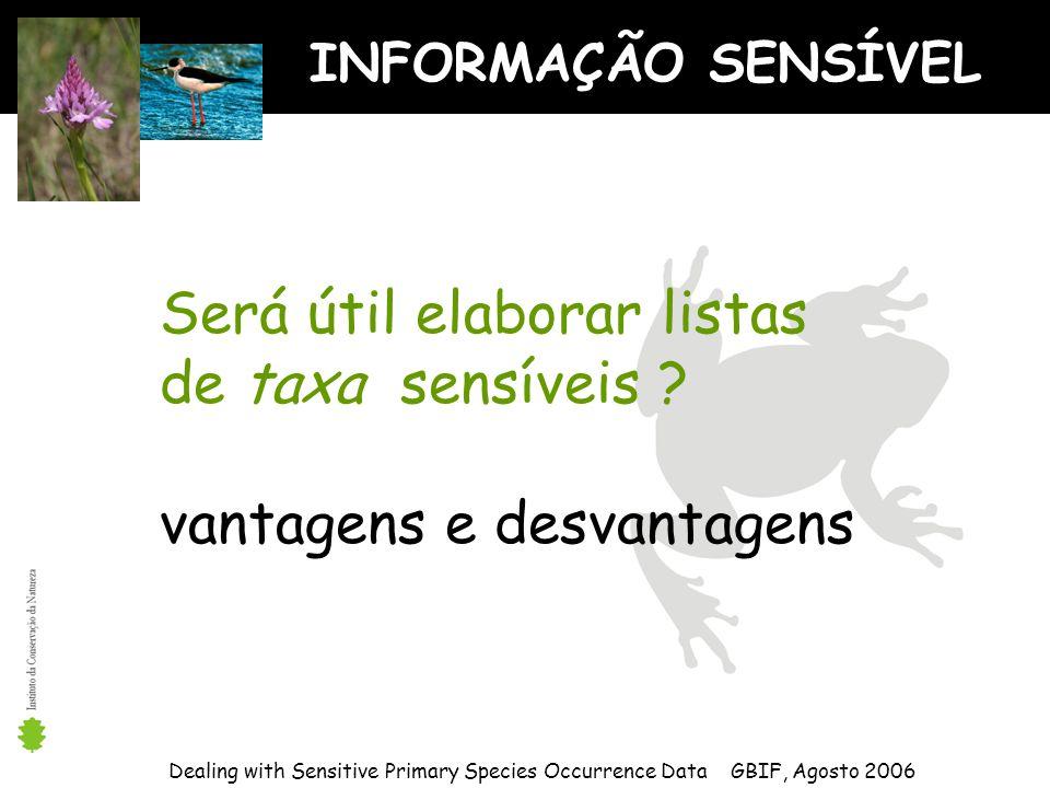 INFORMAÇÃO SENSÍVEL Dealing with Sensitive Primary Species Occurrence Data GBIF, Agosto 2006 Será útil elaborar listas de taxa sensíveis .