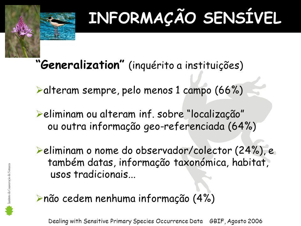INFORMAÇÃO SENSÍVEL Dealing with Sensitive Primary Species Occurrence Data GBIF, Agosto 2006 Generalization (inquérito a instituições) alteram sempre, pelo menos 1 campo (66%) eliminam ou alteram inf.