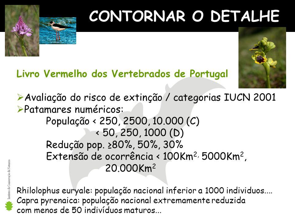 CONTORNAR O DETALHE Livro Vermelho dos Vertebrados de Portugal Avaliação do risco de extinção / categorias IUCN 2001 Patamares numéricos: População < 250, 2500, 10.000 (C) < 50, 250, 1000 (D) Redução pop.