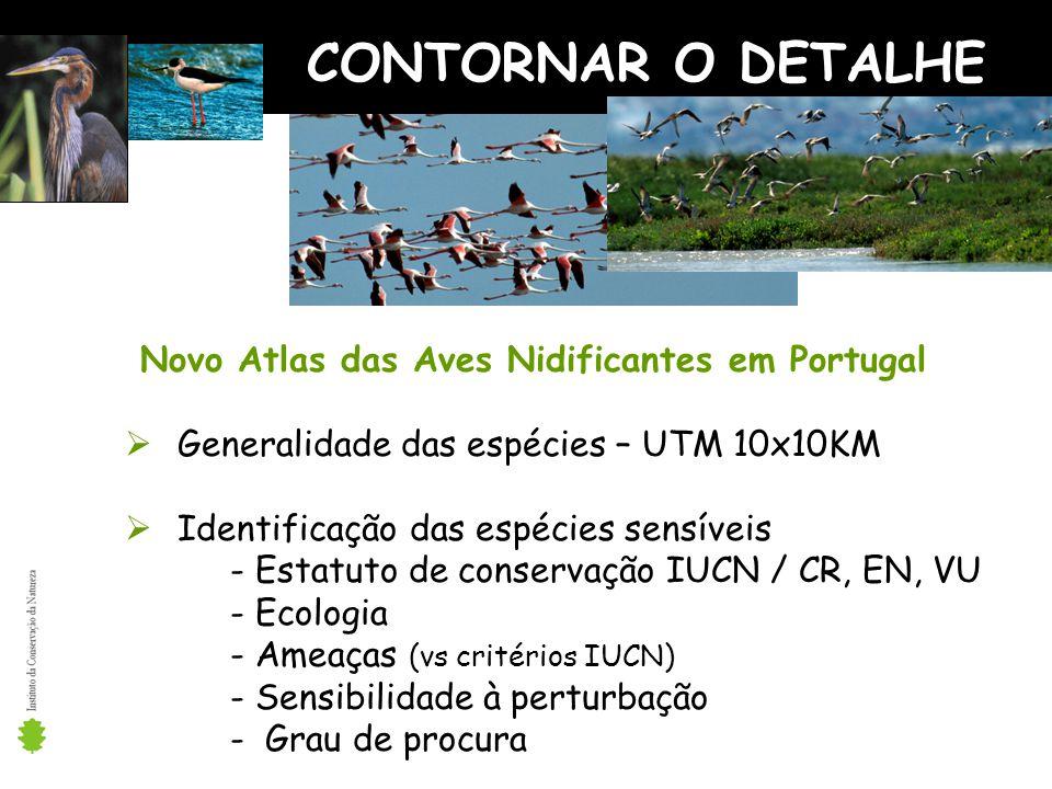 CONTORNAR O DETALHE Novo Atlas das Aves Nidificantes em Portugal Generalidade das espécies – UTM 10x10KM Identificação das espécies sensíveis - Estatuto de conservação IUCN / CR, EN, VU - Ecologia - Ameaças (vs critérios IUCN) - Sensibilidade à perturbação - Grau de procura