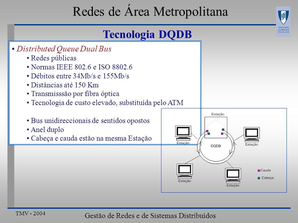 TMV - 2004 Gestão de Redes e de Sistemas Distribuídos Distributed Queue Dual Bus Redes públicas Normas IEEE 802.6 e ISO 8802.6 Débitos entre 34Mb/s e 155Mb/s Distâncias até 150 Km Transmisssão por fibra óptica Tecnologia de custo elevado, substituída pelo ATM Bus unidireccionais de sentidos opostos Anel duplo Cabeça e cauda estão na mesma Estação Redes de Área Metropolitana Tecnologia DQDB