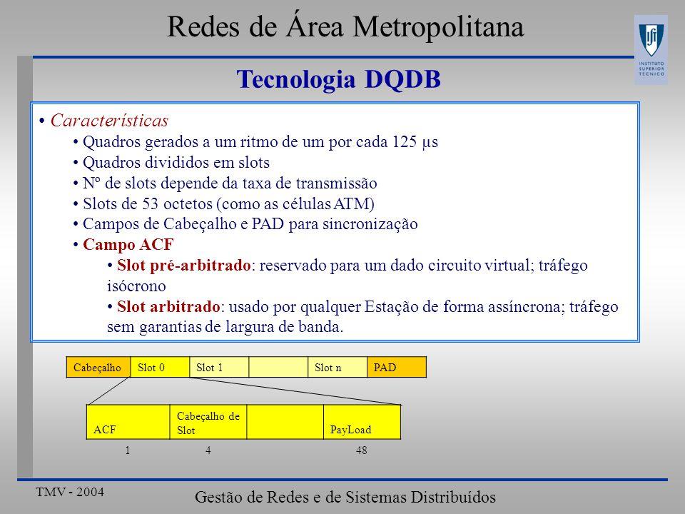 TMV - 2004 Gestão de Redes e de Sistemas Distribuídos Redes de Área Metropolitana Características Quadros gerados a um ritmo de um por cada 125 µs Quadros divididos em slots Nº de slots depende da taxa de transmissão Slots de 53 octetos (como as células ATM) Campos de Cabeçalho e PAD para sincronização Campo ACF Slot pré-arbitrado: reservado para um dado circuito virtual; tráfego isócrono Slot arbitrado: usado por qualquer Estação de forma assíncrona; tráfego sem garantias de largura de banda.