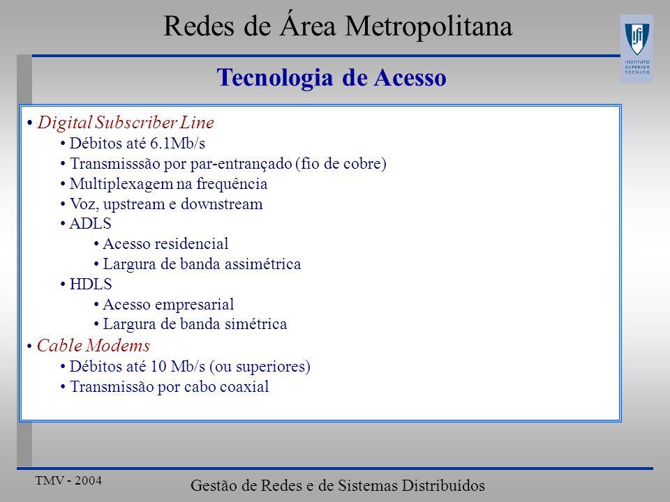 TMV - 2004 Gestão de Redes e de Sistemas Distribuídos Digital Subscriber Line Débitos até 6.1Mb/s Transmisssão por par-entrançado (fio de cobre) Multiplexagem na frequência Voz, upstream e downstream ADLS Acesso residencial Largura de banda assimétrica HDLS Acesso empresarial Largura de banda simétrica Cable Modems Débitos até 10 Mb/s (ou superiores) Transmissão por cabo coaxial Redes de Área Metropolitana Tecnologia de Acesso
