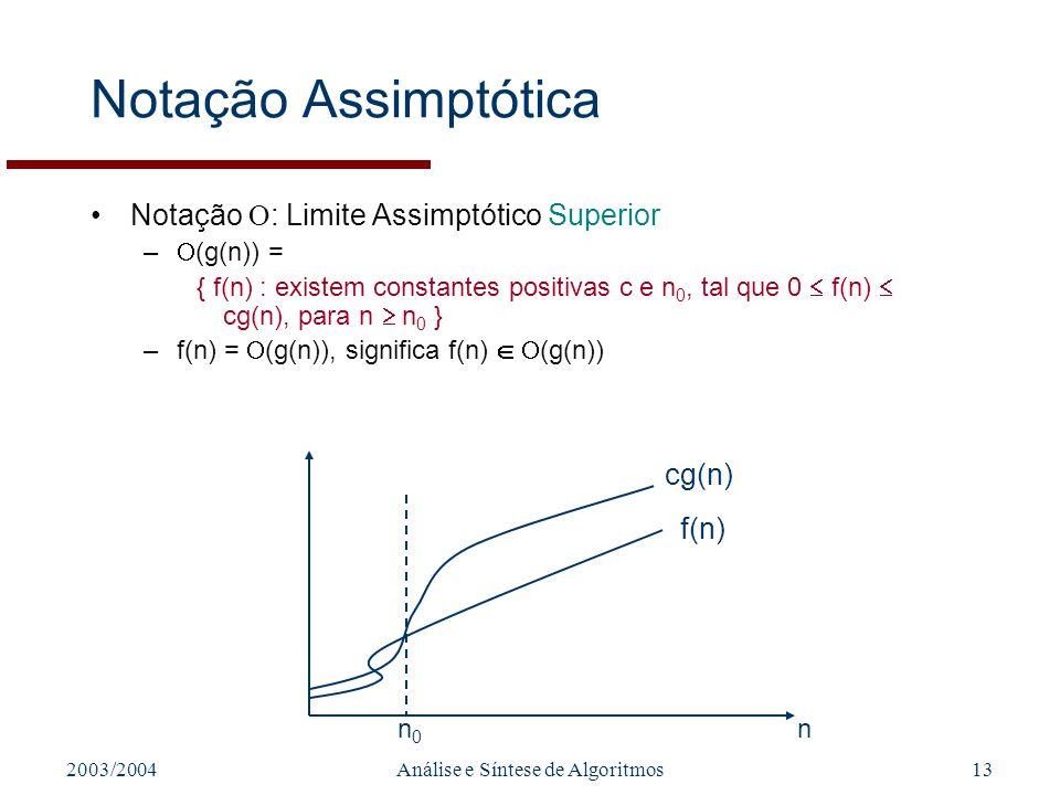 2003/2004Análise e Síntese de Algoritmos13 Notação Assimptótica Notação : Limite Assimptótico Superior – (g(n)) = { f(n) : existem constantes positiva