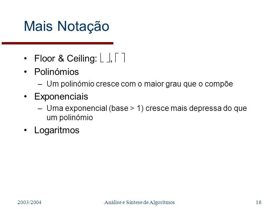 2003/2004Análise e Síntese de Algoritmos16 Mais Notação Floor & Ceiling:, Polinómios –Um polinómio cresce com o maior grau que o compõe Exponenciais –