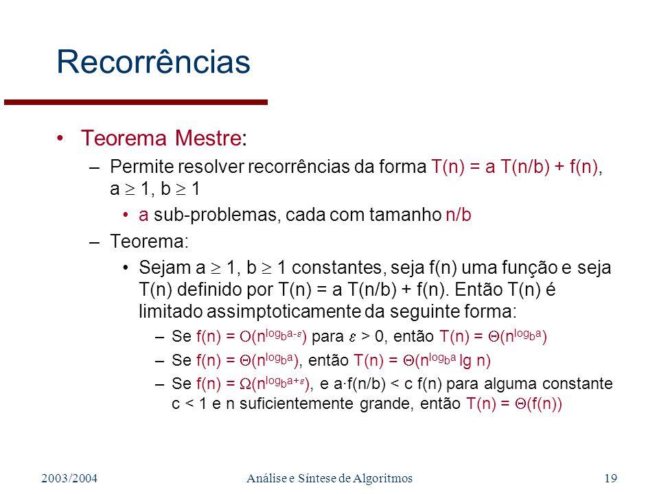 2003/2004Análise e Síntese de Algoritmos19 Recorrências Teorema Mestre: –Permite resolver recorrências da forma T(n) = a T(n/b) + f(n), a 1, b 1 a sub