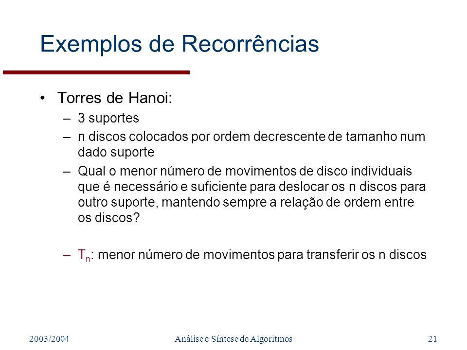 2003/2004Análise e Síntese de Algoritmos21 Exemplos de Recorrências Torres de Hanoi: –3 suportes –n discos colocados por ordem decrescente de tamanho