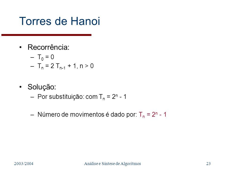 2003/2004Análise e Síntese de Algoritmos23 Torres de Hanoi Recorrência: –T 0 = 0 –T n = 2 T n-1 + 1, n > 0 Solução: –Por substituição: com T n = 2 n -