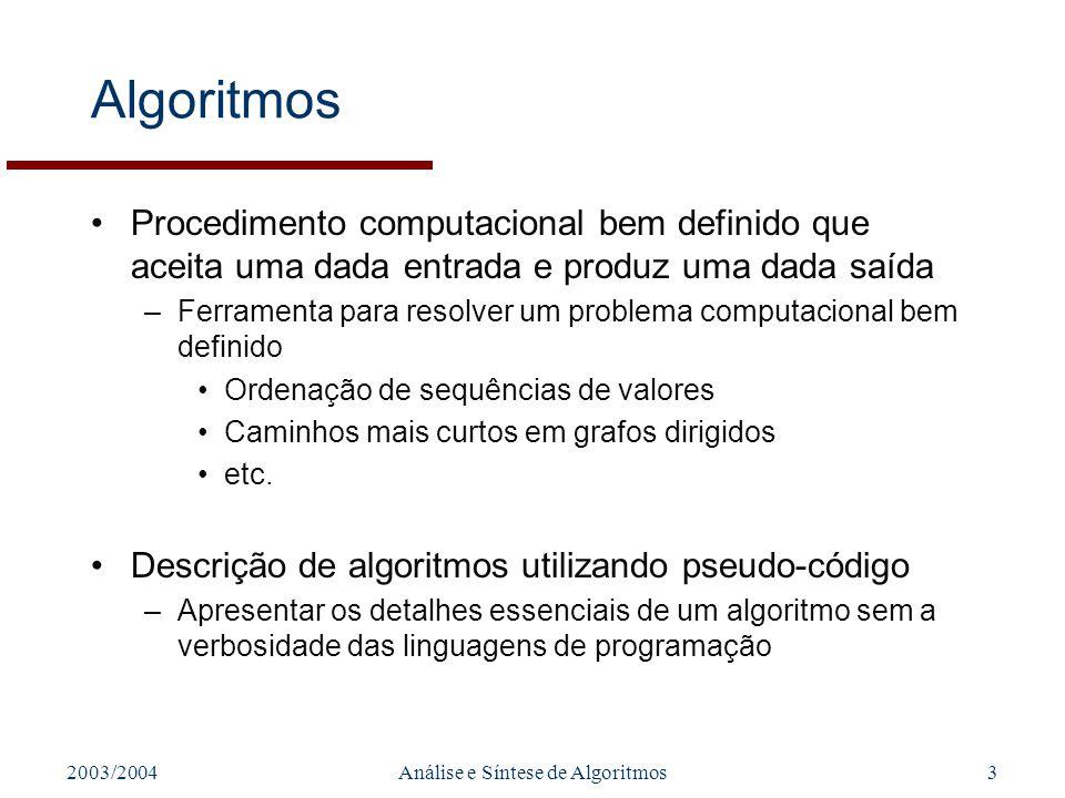 2003/2004Análise e Síntese de Algoritmos3 Algoritmos Procedimento computacional bem definido que aceita uma dada entrada e produz uma dada saída –Ferr