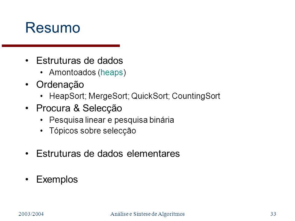 2003/2004Análise e Síntese de Algoritmos33 Resumo Estruturas de dados Amontoados (heaps) Ordenação HeapSort; MergeSort; QuickSort; CountingSort Procur