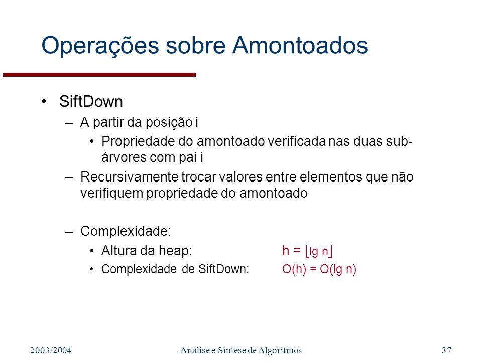 2003/2004Análise e Síntese de Algoritmos37 Operações sobre Amontoados SiftDown –A partir da posição i Propriedade do amontoado verificada nas duas sub