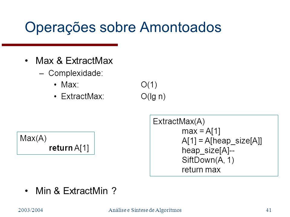 2003/2004Análise e Síntese de Algoritmos41 Operações sobre Amontoados Max & ExtractMax –Complexidade: Max:O(1) ExtractMax:O(lg n) Max(A) return A[1] E