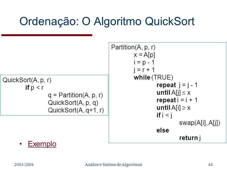 2003/2004Análise e Síntese de Algoritmos44 Ordenação: O Algoritmo QuickSort Exemplo QuickSort(A, p, r) if p < r q = Partition(A, p, r) QuickSort(A, p,