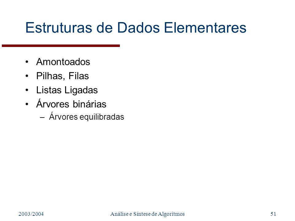 2003/2004Análise e Síntese de Algoritmos51 Estruturas de Dados Elementares Amontoados Pilhas, Filas Listas Ligadas Árvores binárias –Árvores equilibra
