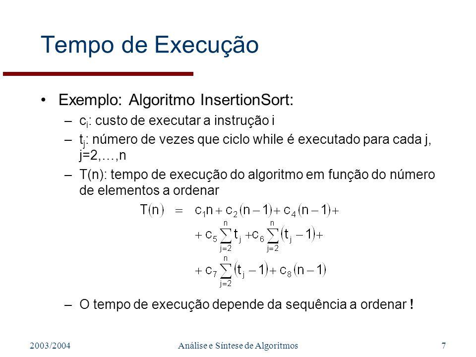 2003/2004Análise e Síntese de Algoritmos7 Tempo de Execução Exemplo: Algoritmo InsertionSort: –c i : custo de executar a instrução i –t j : número de