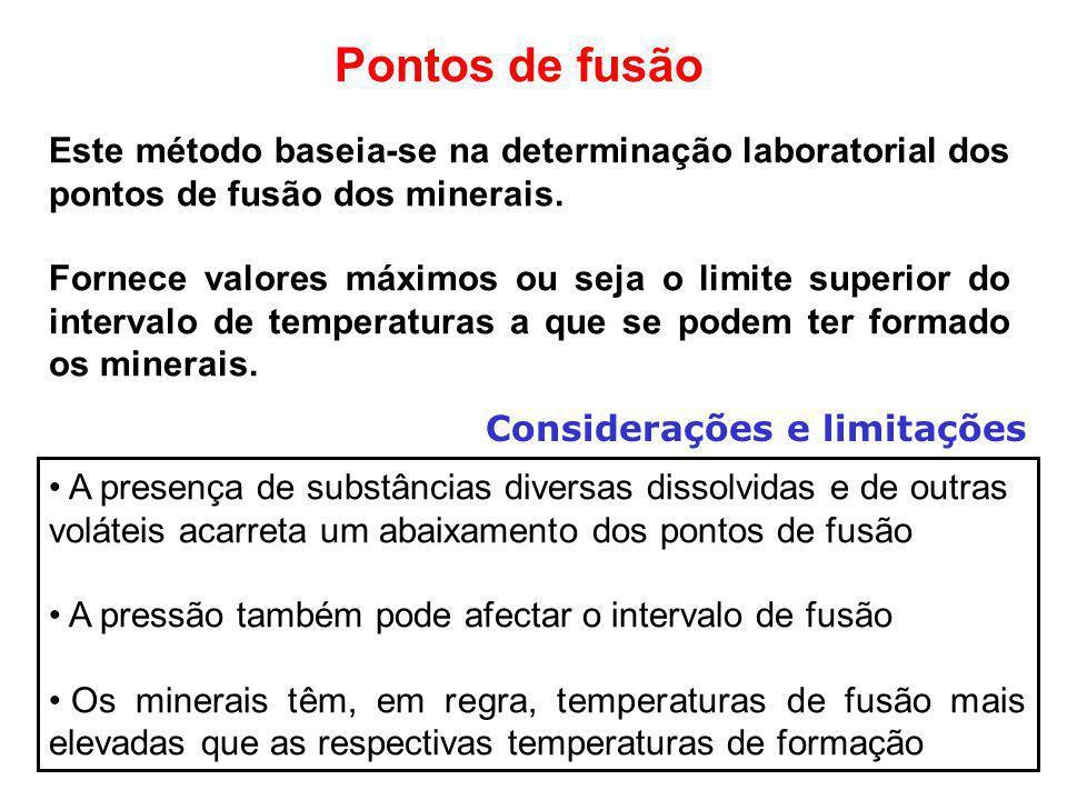 Pontos de fusão Este método baseia-se na determinação laboratorial dos pontos de fusão dos minerais. Fornece valores máximos ou seja o limite superior