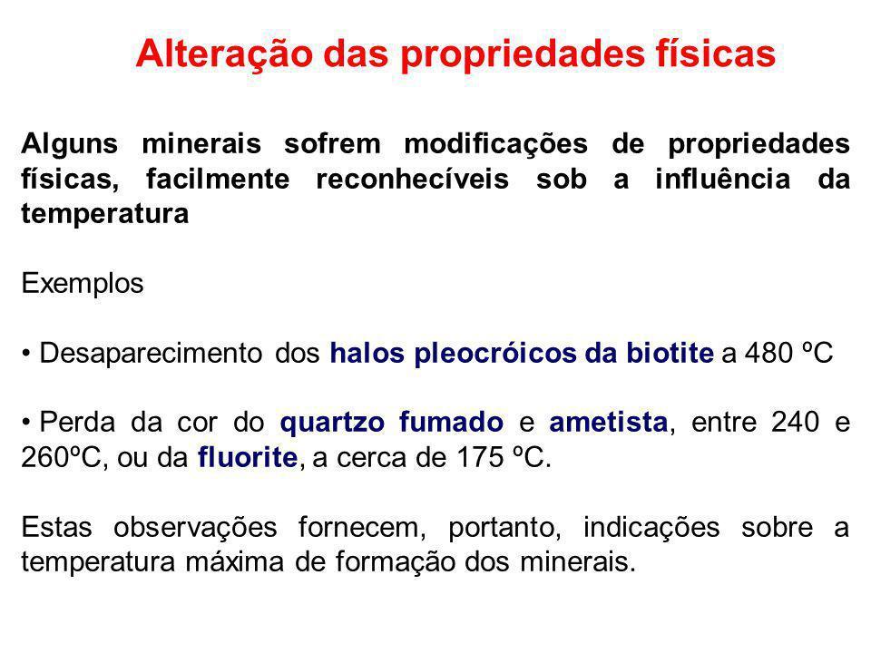 Alteração das propriedades físicas Alguns minerais sofrem modificações de propriedades físicas, facilmente reconhecíveis sob a influência da temperatu