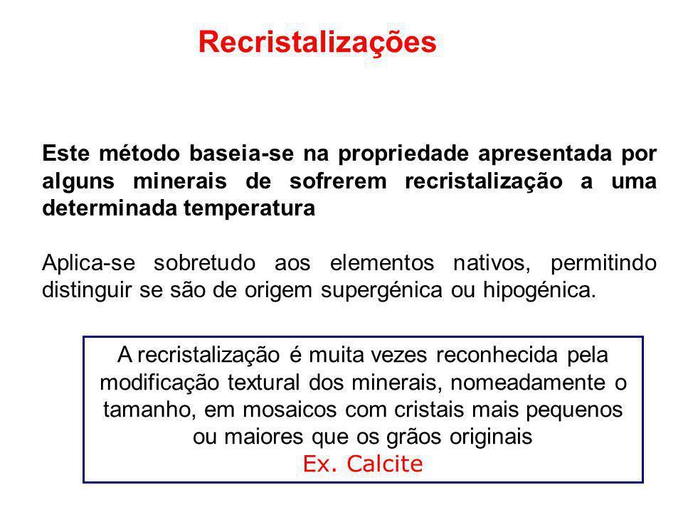 Recristalizações Este método baseia-se na propriedade apresentada por alguns minerais de sofrerem recristalização a uma determinada temperatura Aplica
