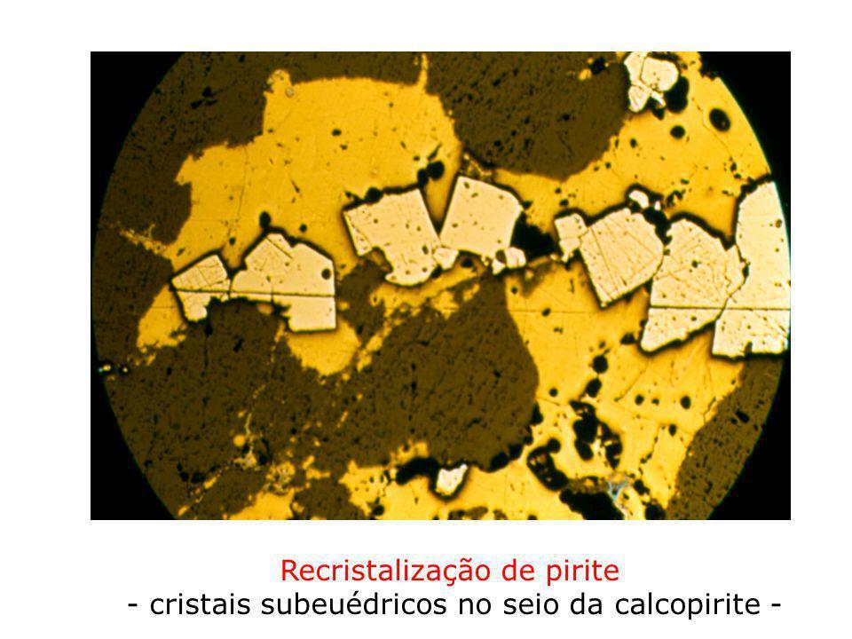 Recristalização de pirite - cristais subeuédricos no seio da calcopirite -