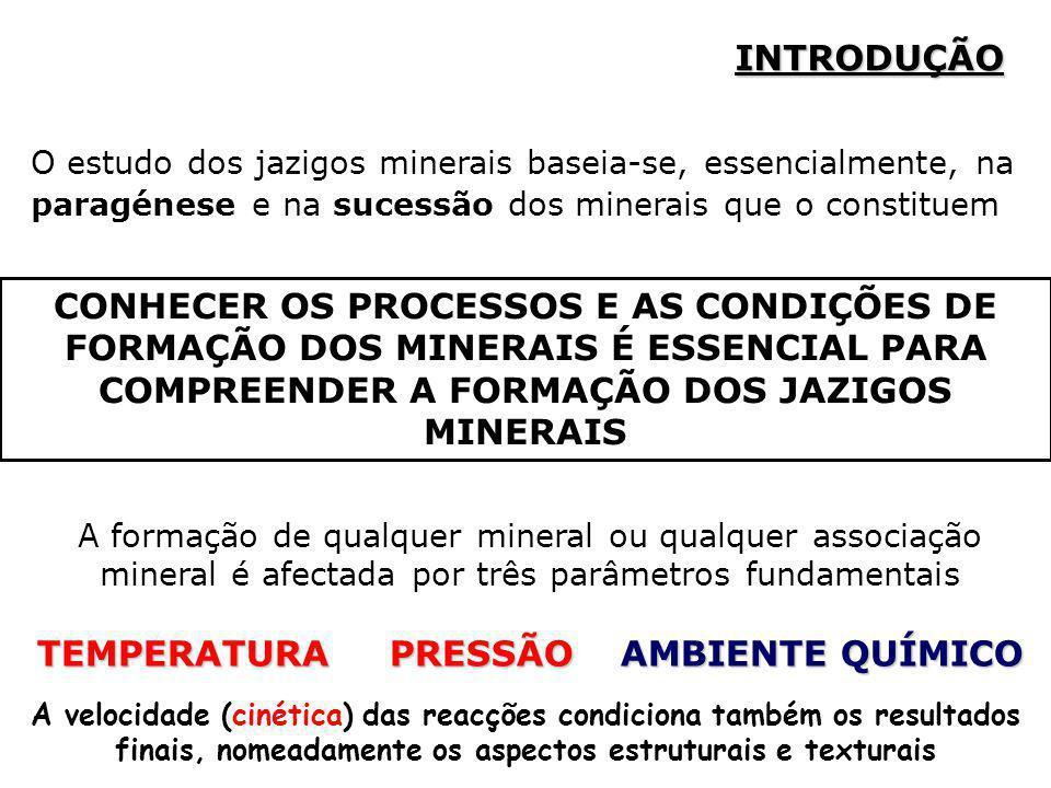 INTRODUÇÃO O estudo dos jazigos minerais baseia-se, essencialmente, na paragénese e na sucessão dos minerais que o constituem A formação de qualquer m