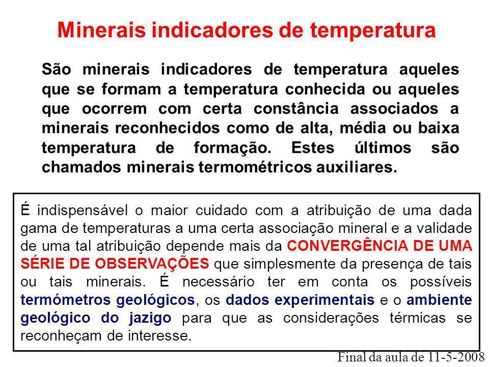 Minerais indicadores de temperatura São minerais indicadores de temperatura aqueles que se formam a temperatura conhecida ou aqueles que ocorrem com c
