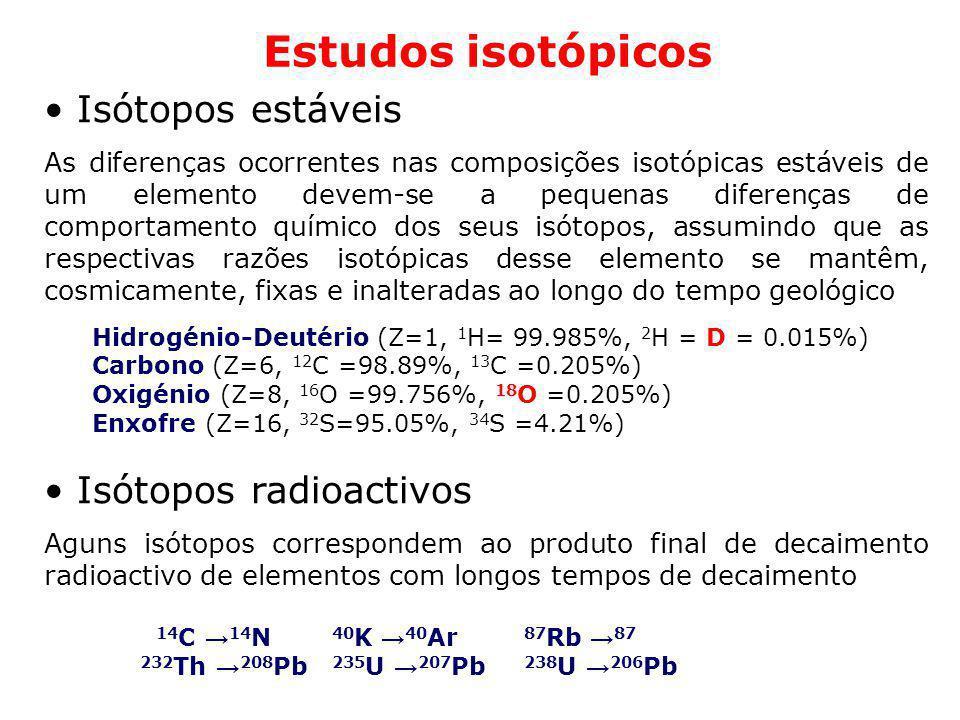 Estudos isotópicos Isótopos estáveis As diferenças ocorrentes nas composições isotópicas estáveis de um elemento devem-se a pequenas diferenças de com