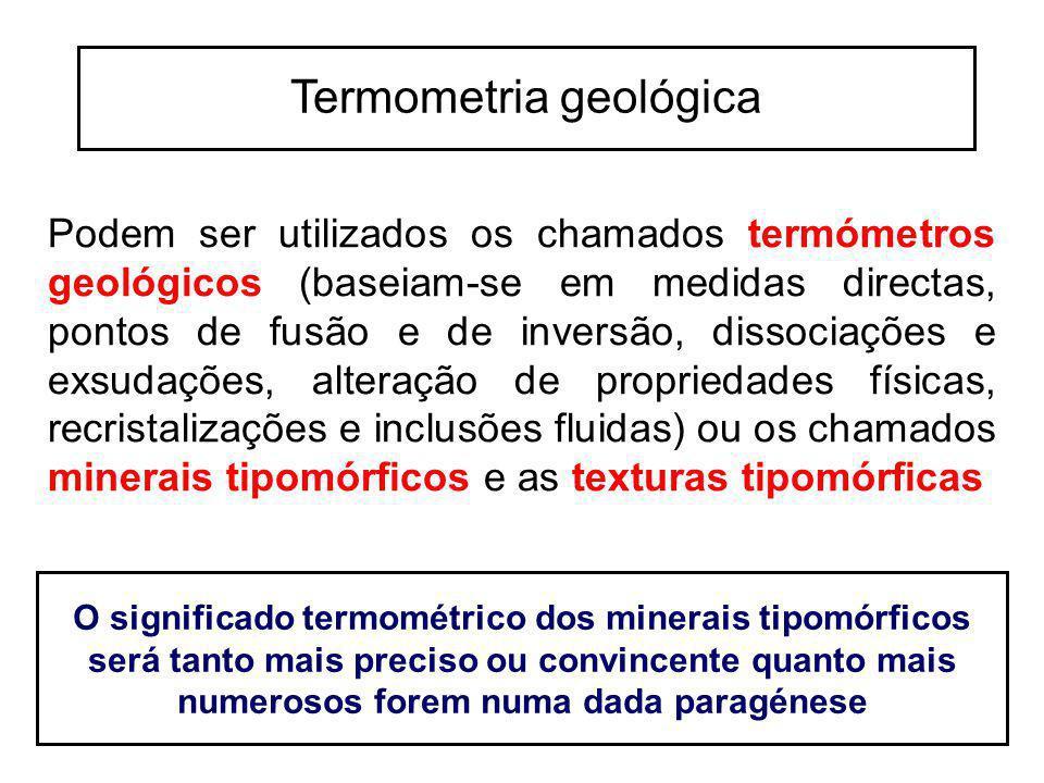 Podem ser utilizados os chamados termómetros geológicos (baseiam-se em medidas directas, pontos de fusão e de inversão, dissociações e exsudações, alt