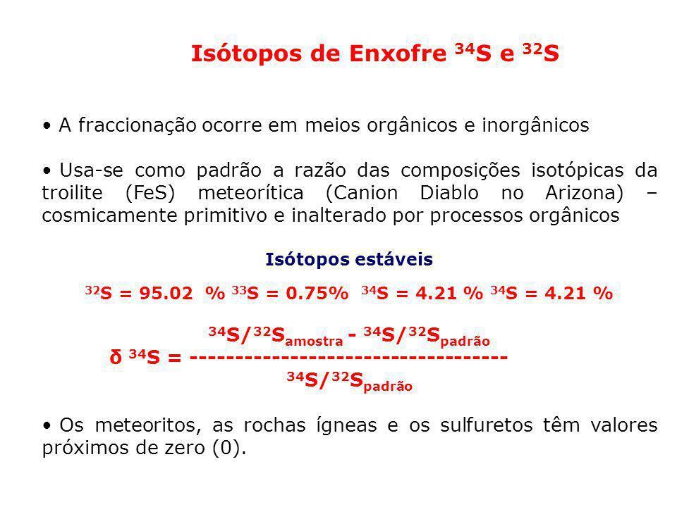Isótopos de Enxofre 34 S e 32 S A fraccionação ocorre em meios orgânicos e inorgânicos Usa-se como padrão a razão das composições isotópicas da troili