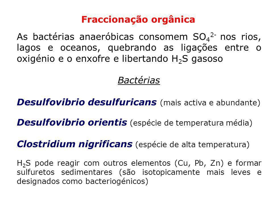 Fraccionação orgânica As bactérias anaeróbicas consomem SO 4 2- nos rios, lagos e oceanos, quebrando as ligações entre o oxigénio e o enxofre e libert