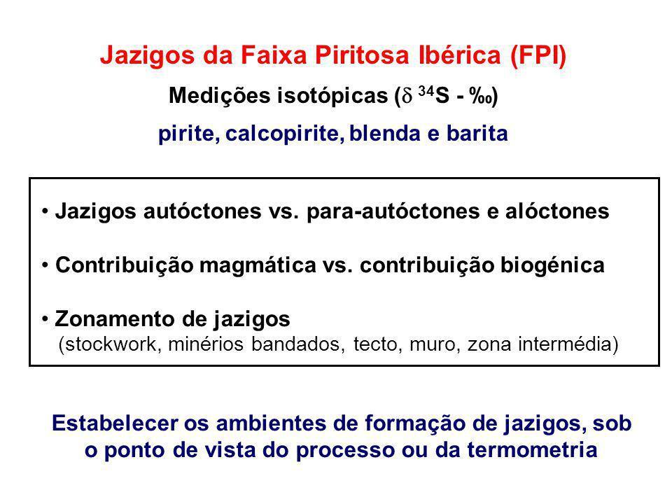 Jazigos autóctones vs. para-autóctones e alóctones Contribuição magmática vs. contribuição biogénica Zonamento de jazigos (stockwork, minérios bandado