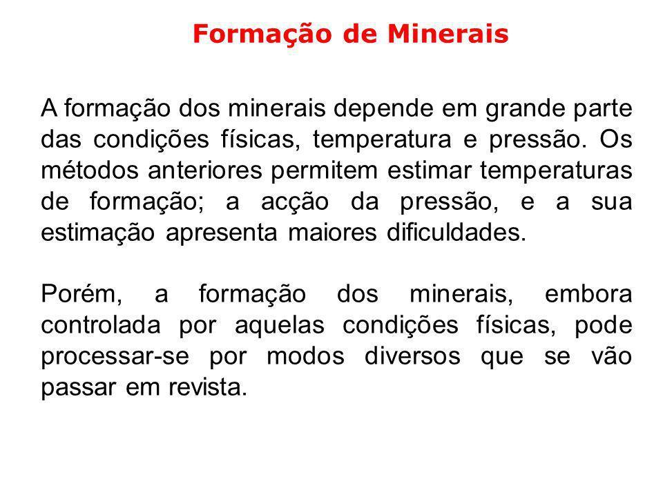 A formação dos minerais depende em grande parte das condições físicas, temperatura e pressão. Os métodos anteriores permitem estimar temperaturas de f