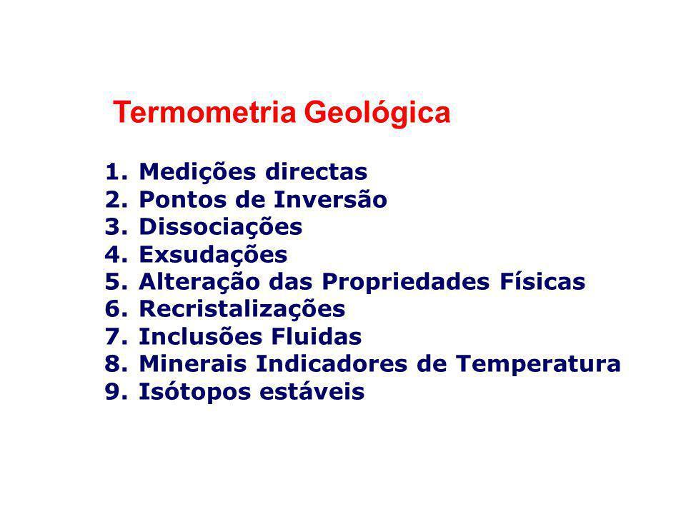 Termometria Geológica 1.Medições directas 2.Pontos de Inversão 3.Dissociações 4.Exsudações 5.Alteração das Propriedades Físicas 6.Recristalizações 7.I